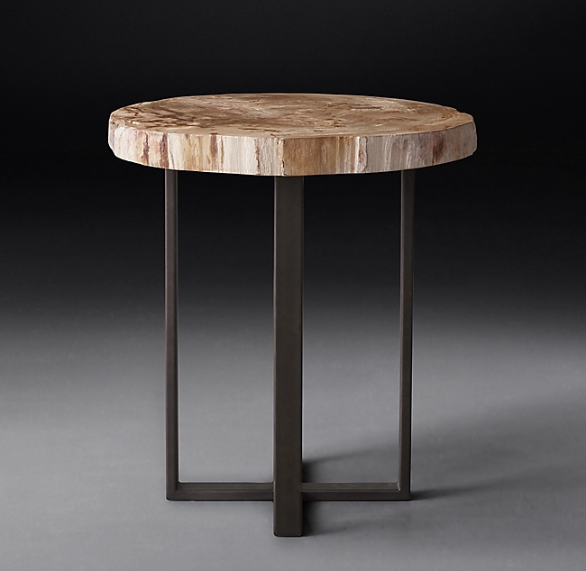 RH Petrified Wood Slab Side Table