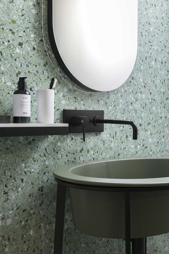 Terrazzo Still on Trend for 2019? - Green Modern Bathroom