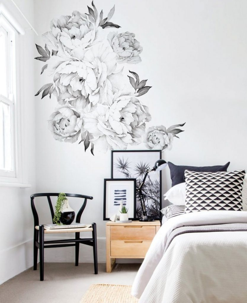 Black Peony Art Mural Wall Decal