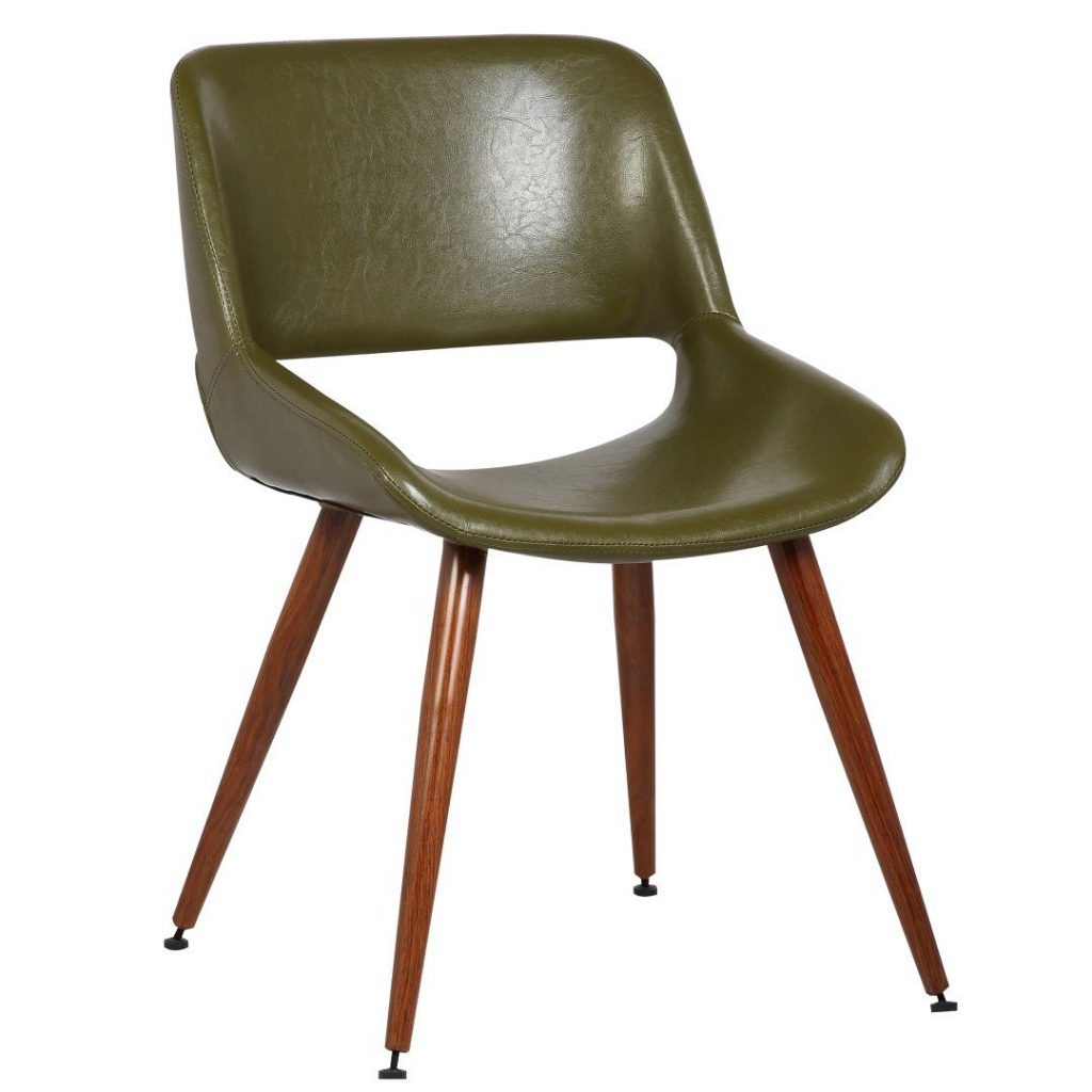 Leather Green Mid Century Dining Chair