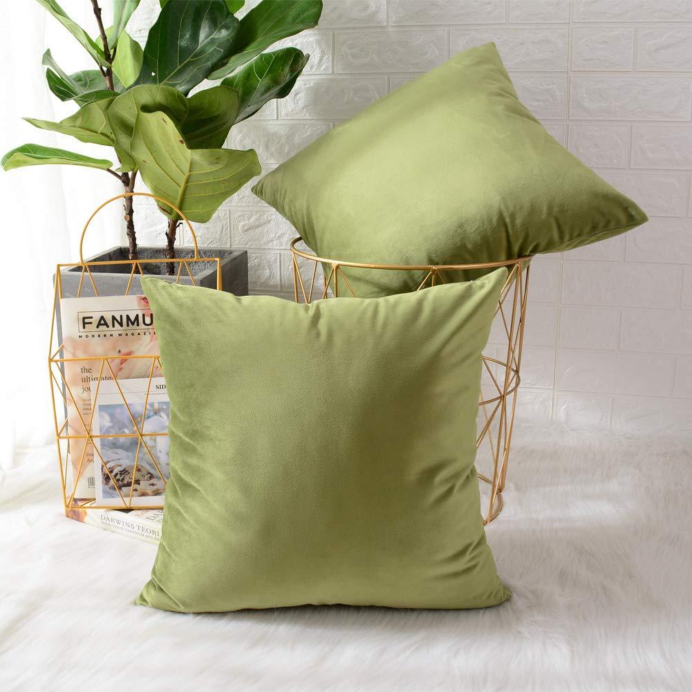 Velvet green cushions