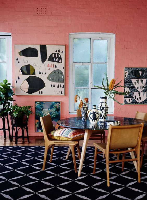 10 Rooms With Colour Done The Right Way! Coral-Pink-Brick-Painted-Kitchen