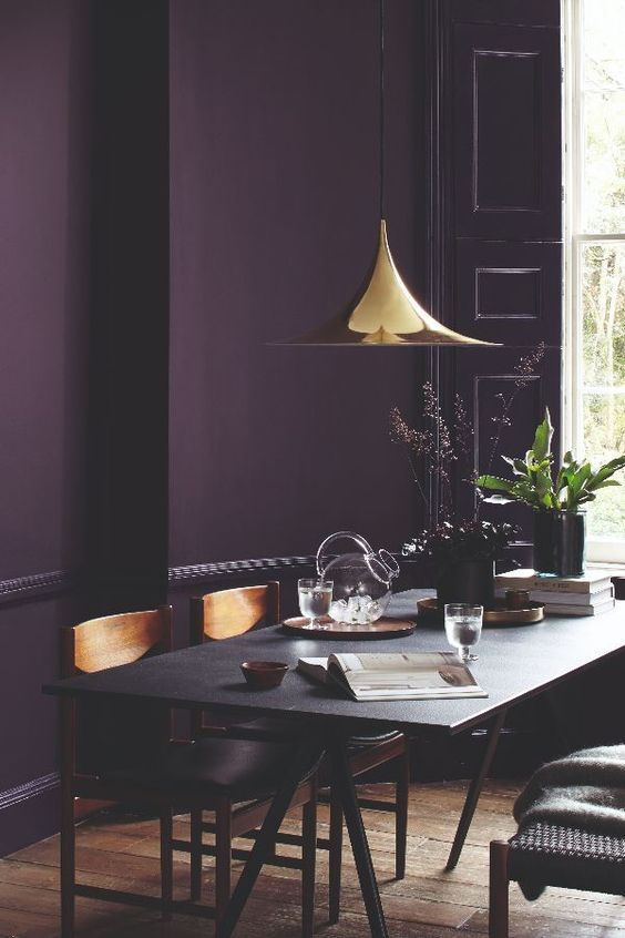 10 Rooms With Colour Done The Right Way! Deep-Aubergine-Dining-Area