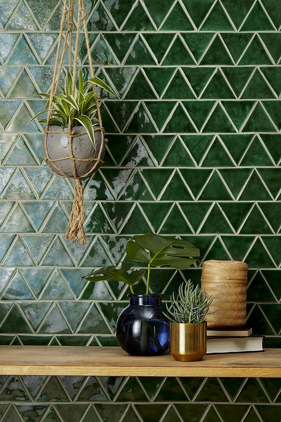Glazed green triangle kitchen tiling