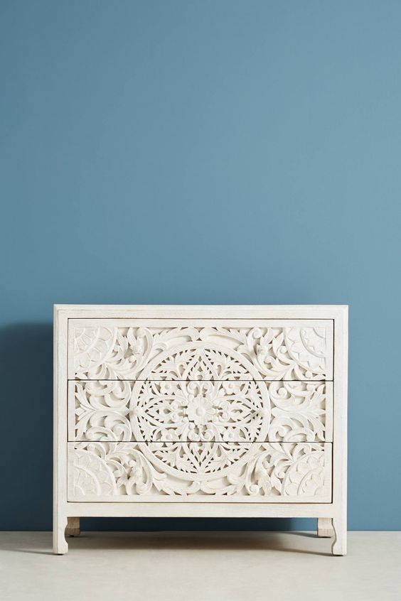White wooden carved 3 drawer dresser from Anthropologie