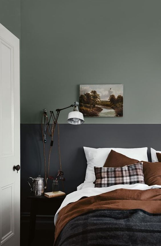 10 Rooms With Colour Done The Right Way! Moody-Two-Tone-Bedroom-