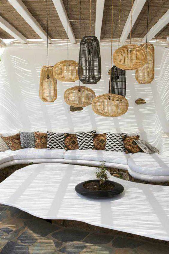 Outdoor Living Patio Area With Bamboo Lanterns