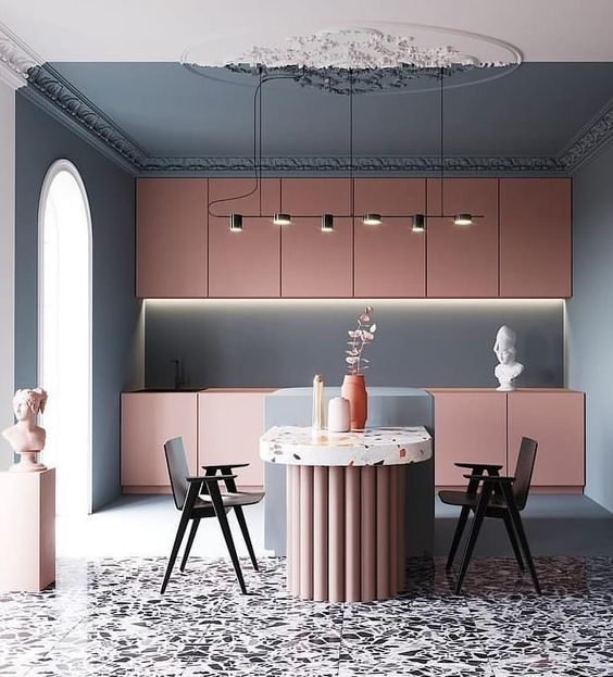 Modern contrasting traditional detailed kitchen two tone ceiling with blush cabinetry and terrazzo floors