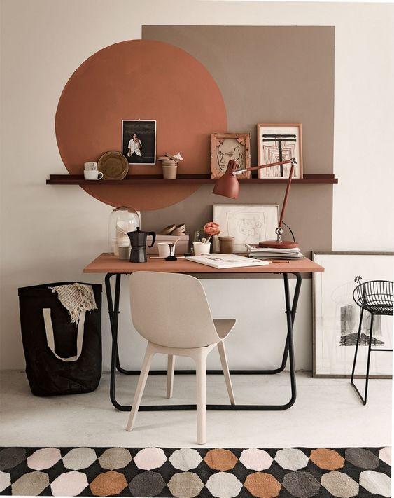 Colour Blocking For Your Interiors - Earthy Office Desk Space