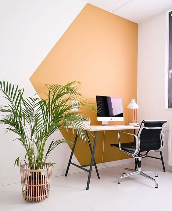 Colour Blocking For Your Interiors - Office Orange Blocked Wall