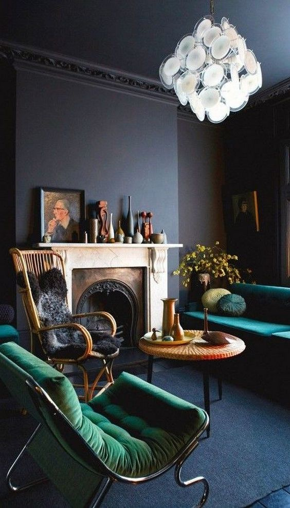 Dark Blue Living Room with Emerald Green Sofas