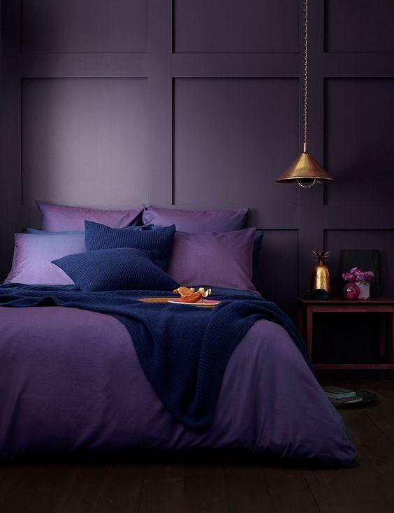 Rich Purple Aubergine Panelled Bedroom