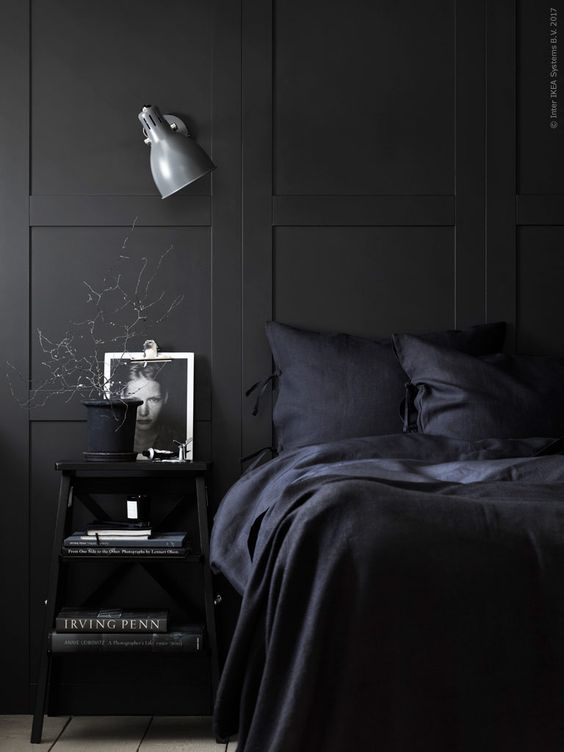 Moody Room Designs That You Will Love For The Winter Season - Black Panelled Bedroom