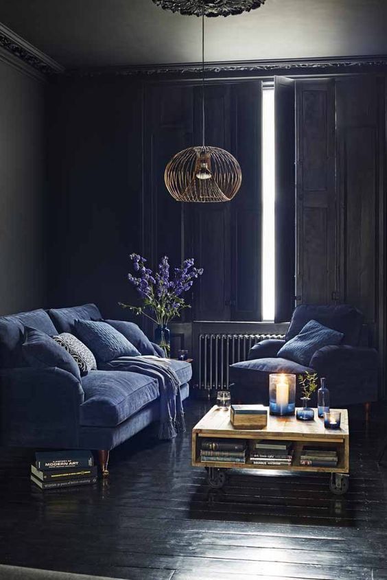 Moody Room Designs That You Will Love For The Winter Season - Black and Blue Living Room