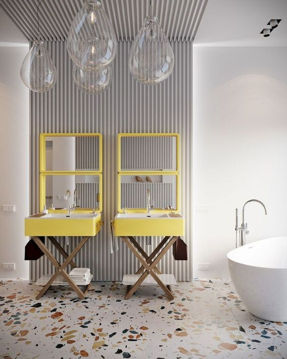 10 Interior 2020 Trends That Will Be Carrying On Next Year - Terrazzo Bathroom Interior