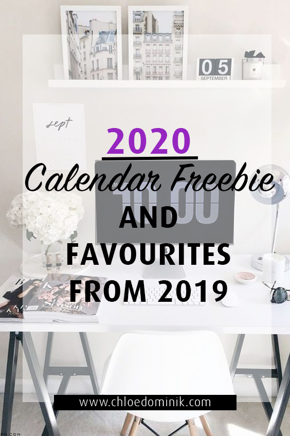 2020 Calendar Freebie And Favourites From 2019
