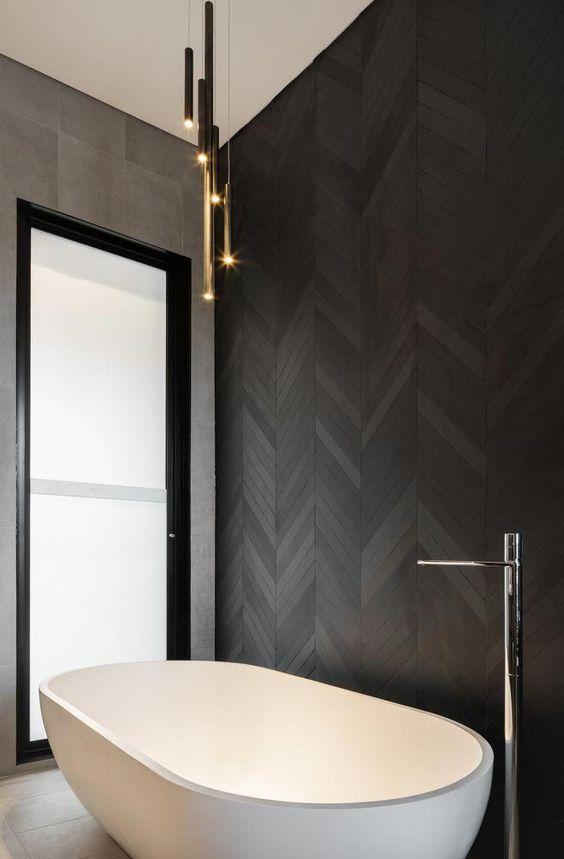 Black herringbone feature wall bathroom