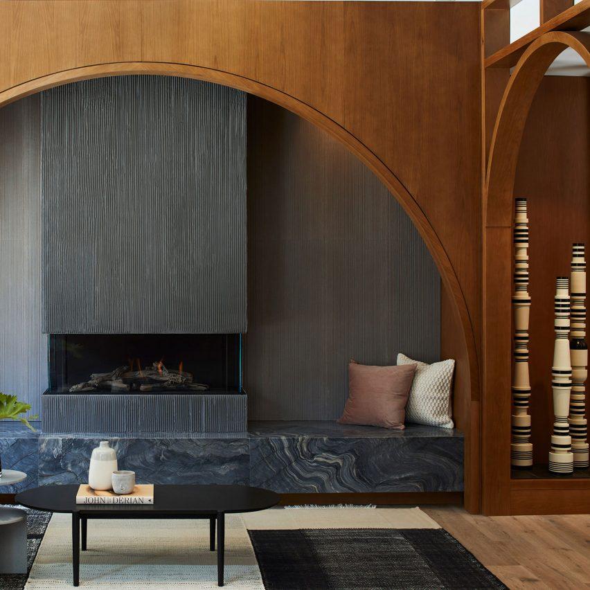 St. George Toronto lounge area fireplace