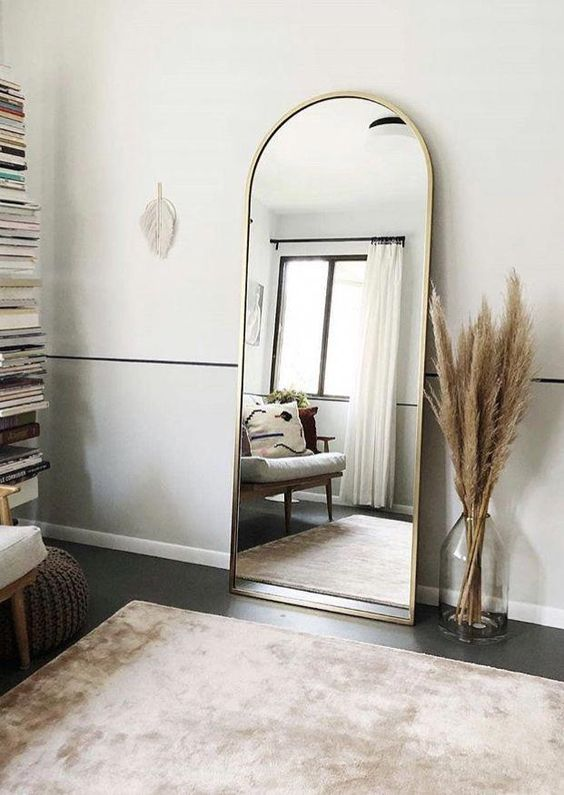 Interior Bedroom Design with Mirror opposite window wall