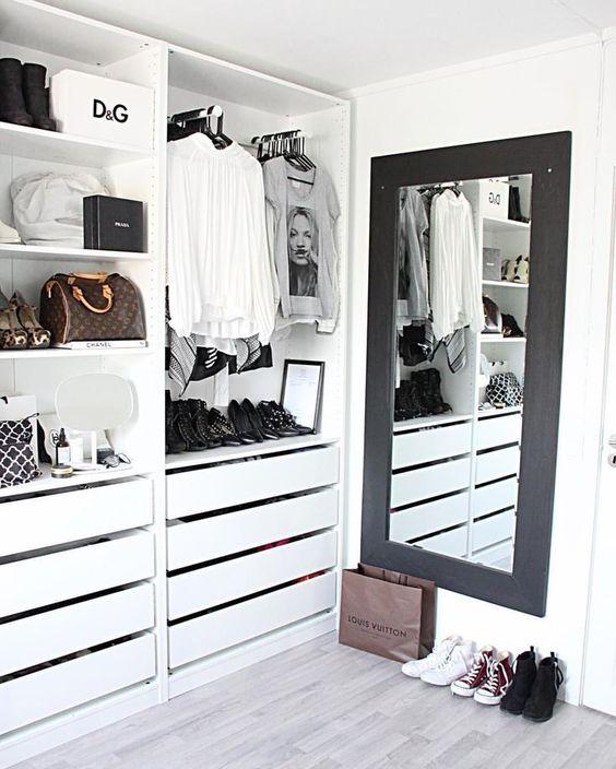 16 Stylish Wardrobe Ideas That Use The Ikea Pax - Black and White Wardrobe