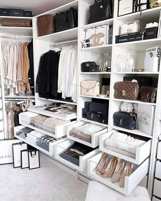 16 Stylish Wardrobe Ideas That Use The Ikea Pax - Designer Chanel, YSL and Gucci